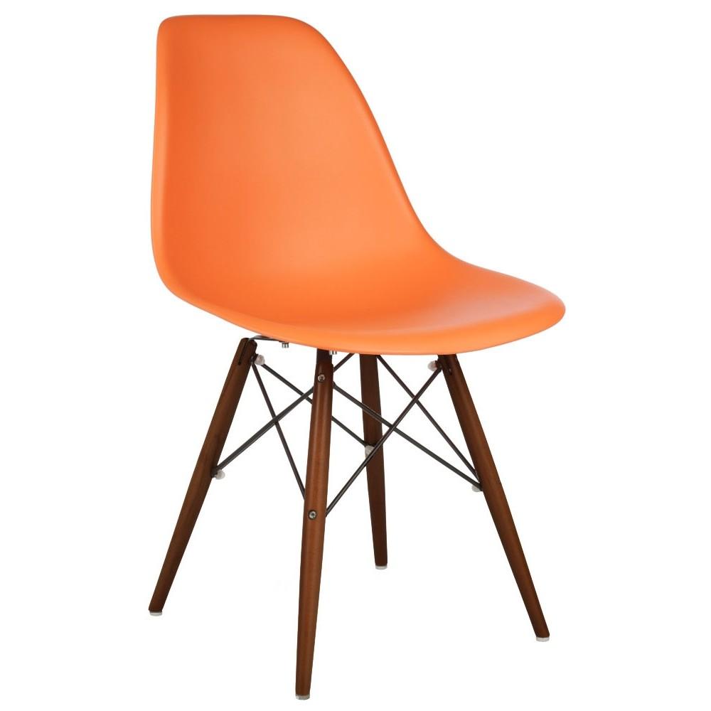 Eames Style DSW Molded Orange Plastic Dining Shell Chair  : dsw dl ora1 from www.emoderndecor.com size 1000 x 1000 jpeg 61kB