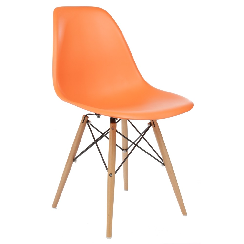 eames style dsw molded orange plastic dining shell chair with wood eiffel legs. Black Bedroom Furniture Sets. Home Design Ideas