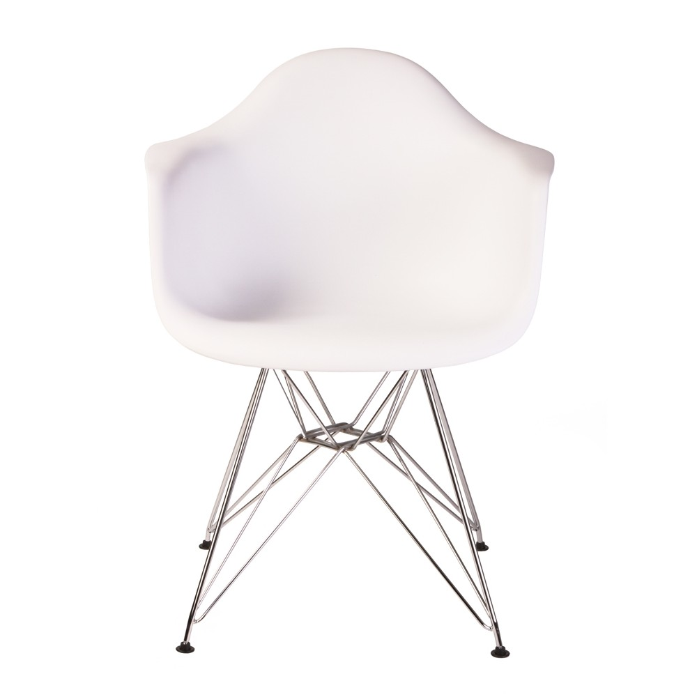 Set Of 2 Eames Style Dar Molded White Plastic Dining