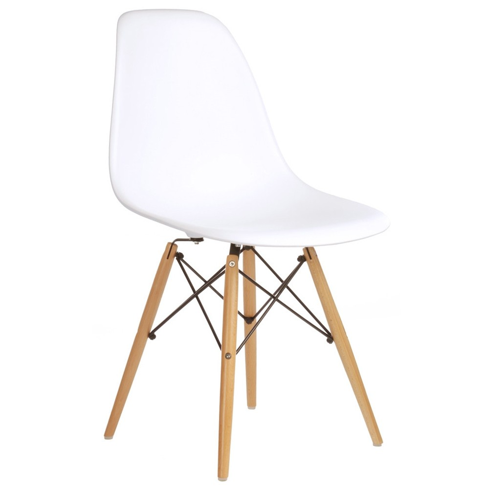 Set of 2 eames style dsw molded white plastic dining shell for Dsw chair replica