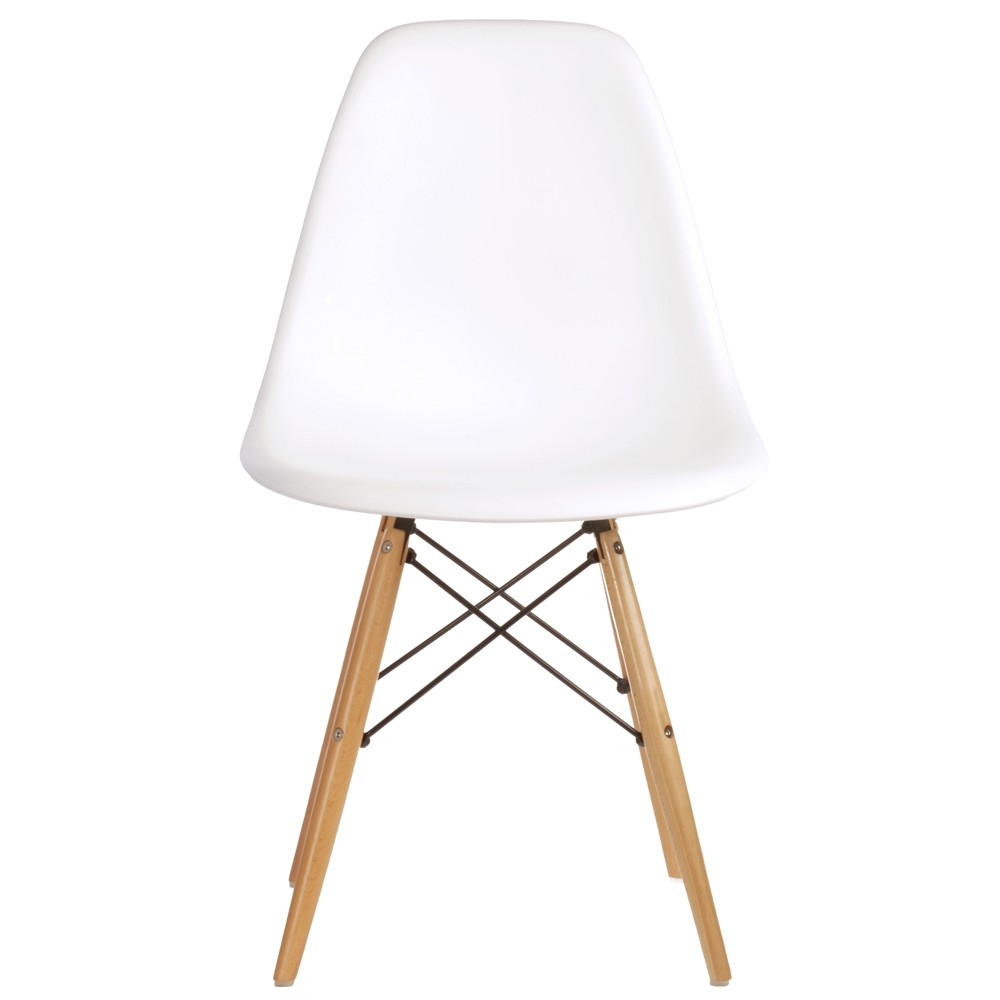 Set of 2 eames style dsw molded white plastic dining shell for Reproduction eames dsw
