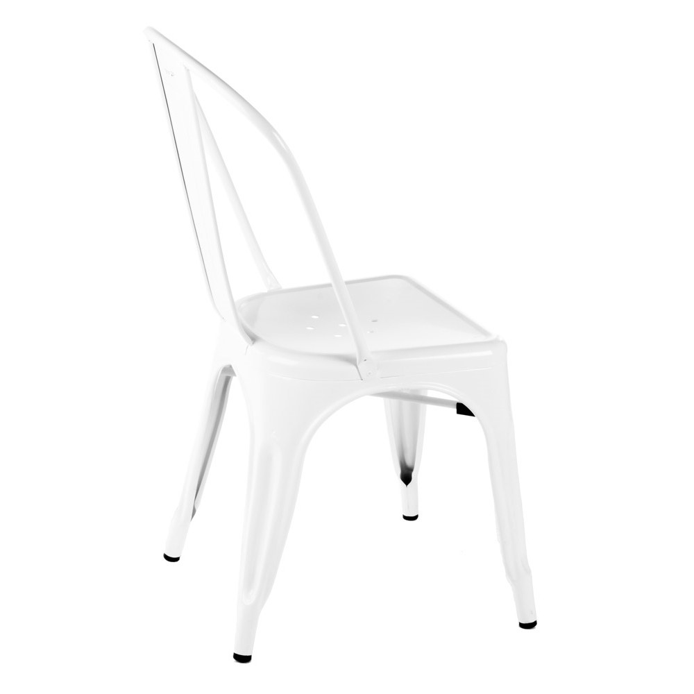 Tolix style metal industrial loft designer white cafe chair for White designer chair