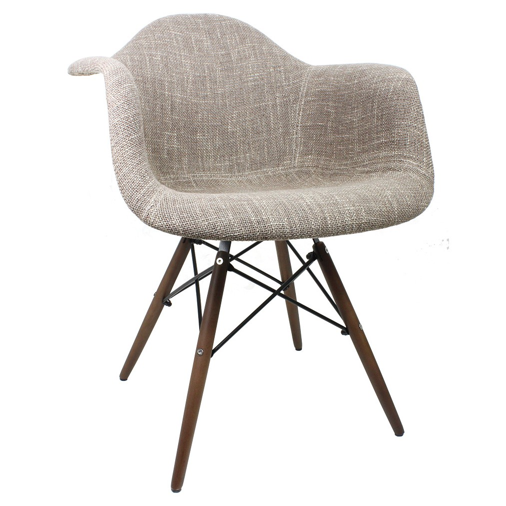 Brown woven fabric eames style accent arm chair with dark