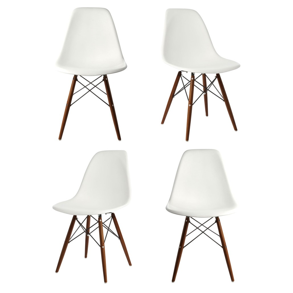 Set of 4 eames style dsw molded white plastic dining shell for White kitchen dining chairs