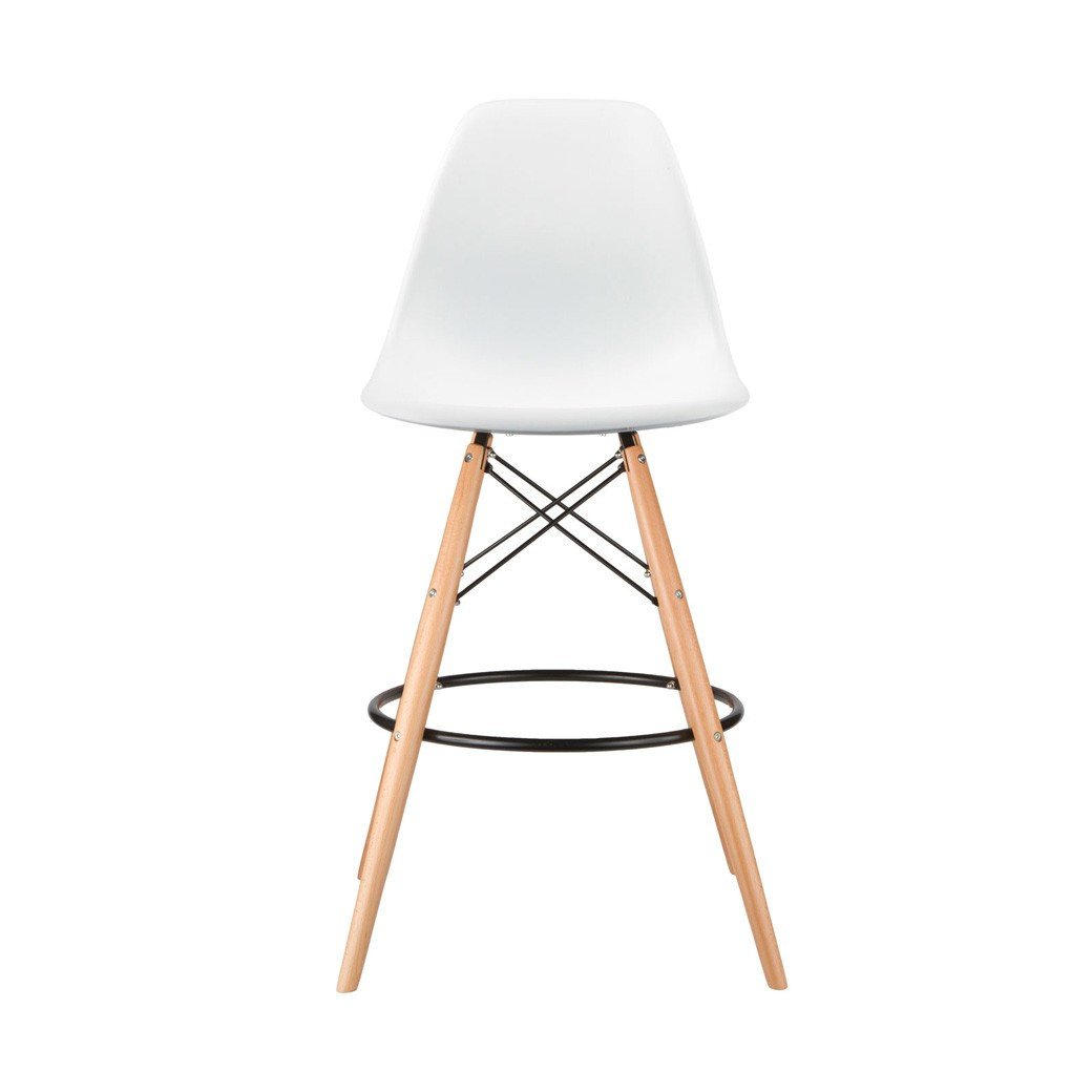Set of 2 eames style dsw white plastic 26 inch counter stool with wood eiffel legs - Witte plastic stoel ...