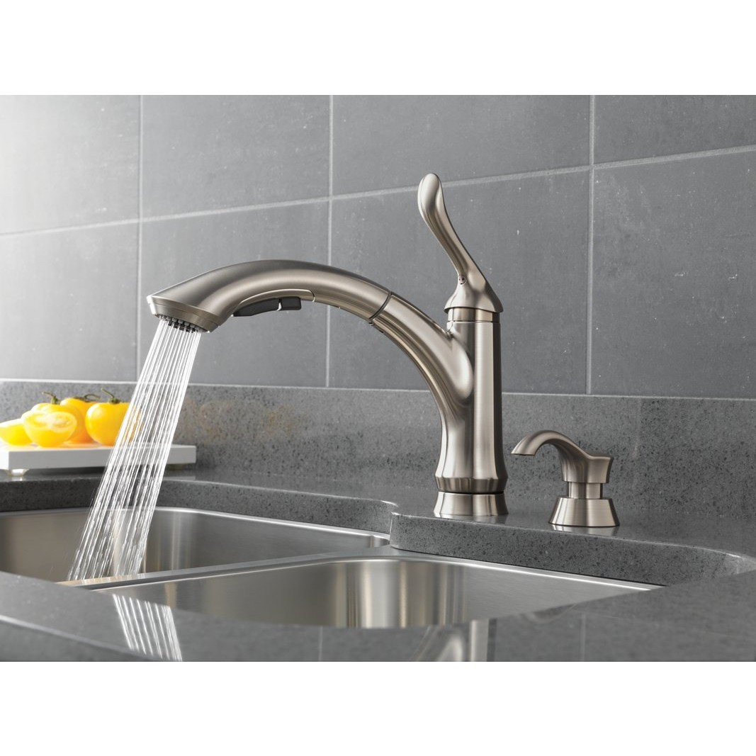 delta linden waterfall lead free single handle pull out delta chrome waterfall faucet pull down chrome delta