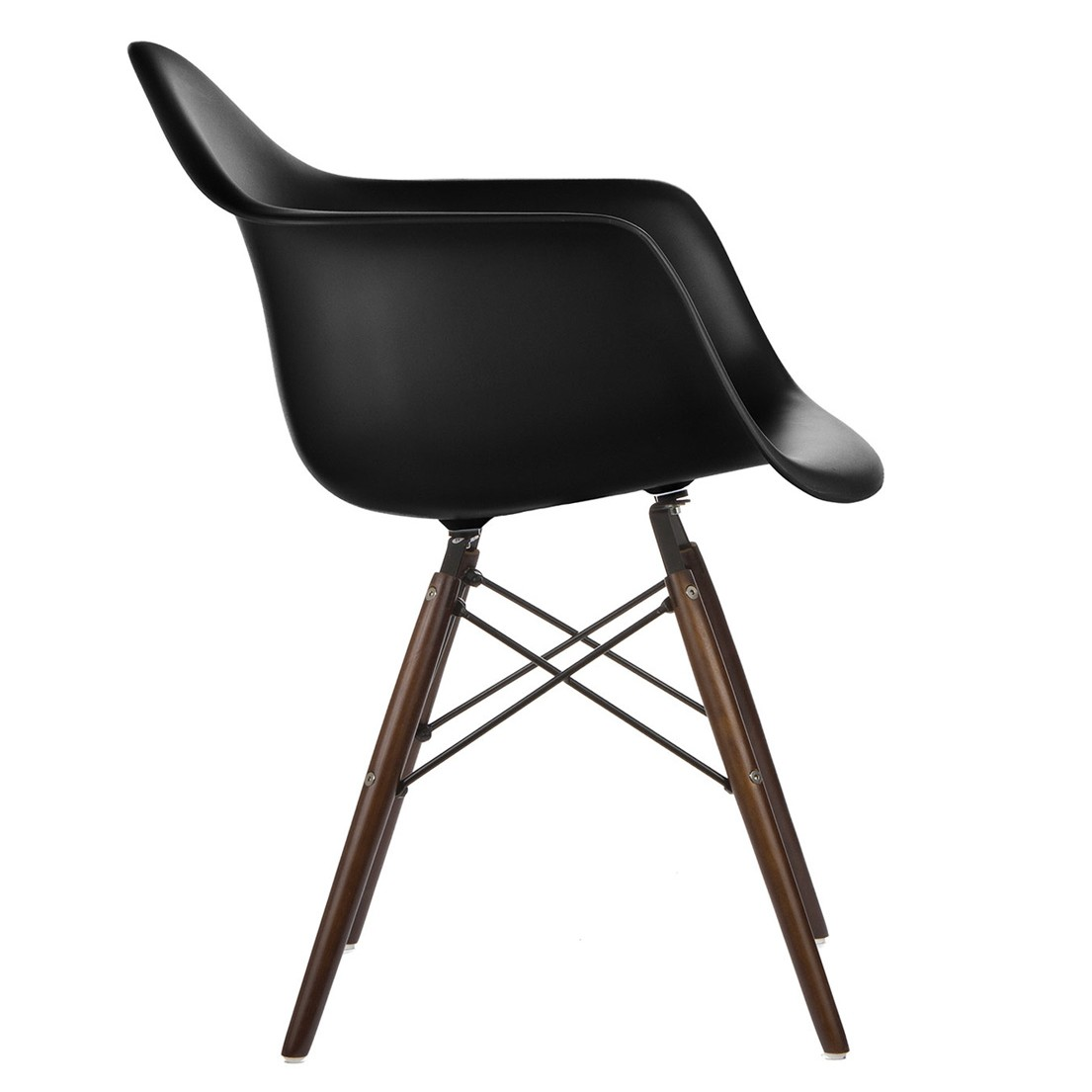 Eames Style Daw Molded In Black Plastic Dining Armchair