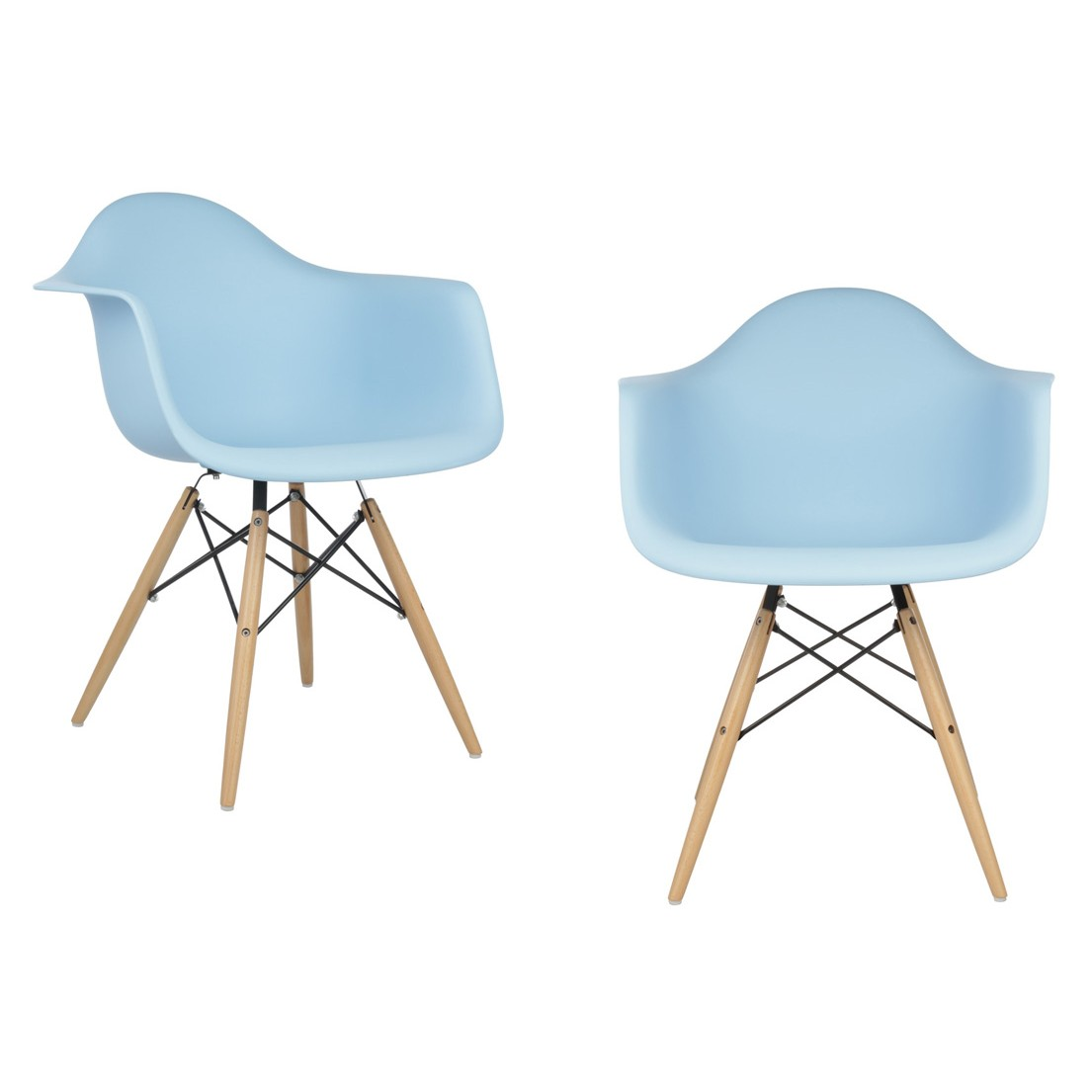 Set of 2 eames style daw molded light blue plastic dining for Light blue armchair