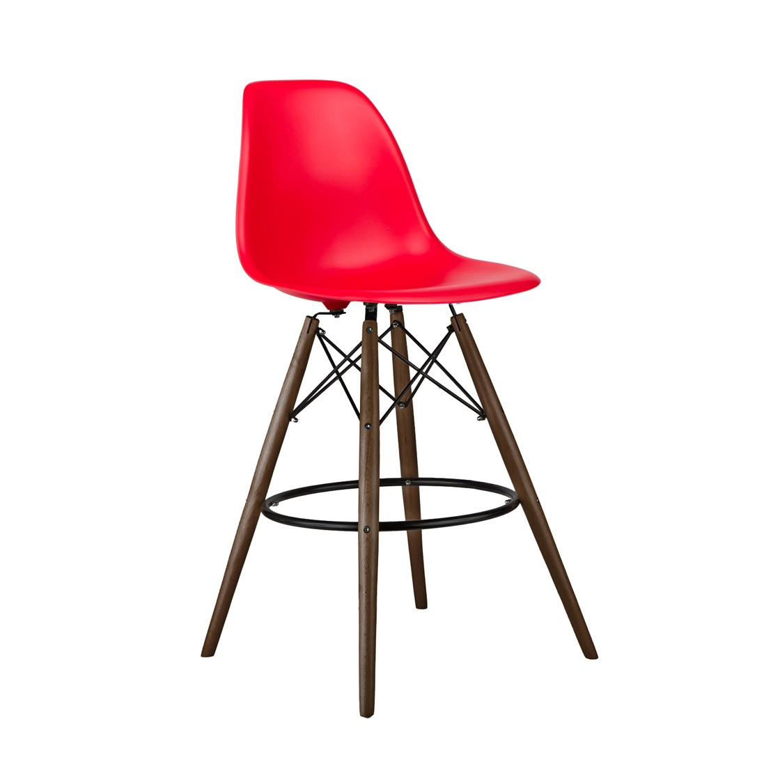 Set of 2 Red Eames Style DSW 26 Inch Counter Stool with  : eames stools red walnut leg 65p2 from www.emoderndecor.com size 1120 x 1120 jpeg 73kB