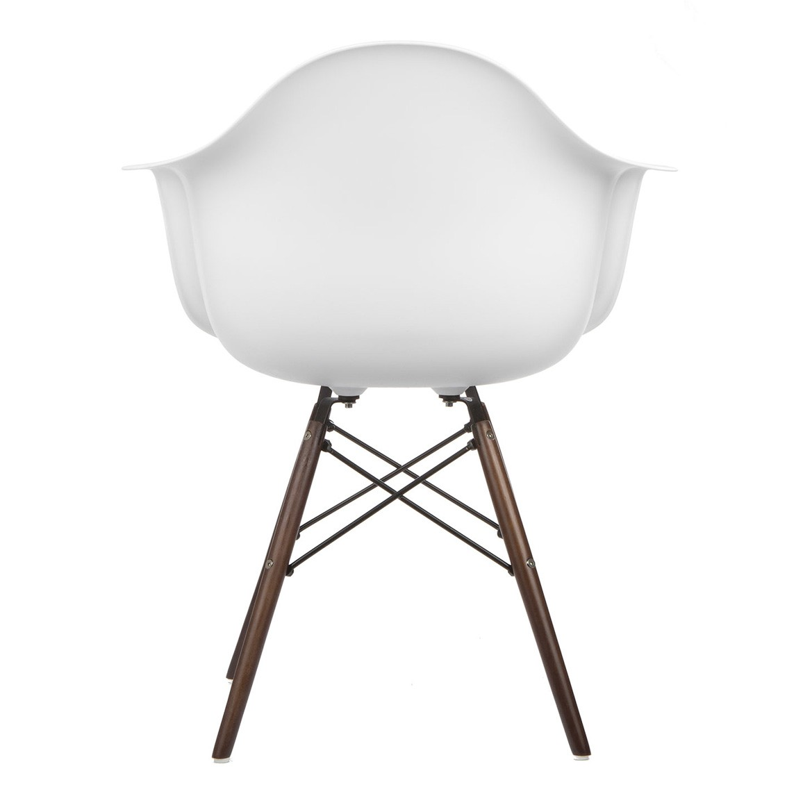 home daw molded white plastic dining armchair with dark walnut wood
