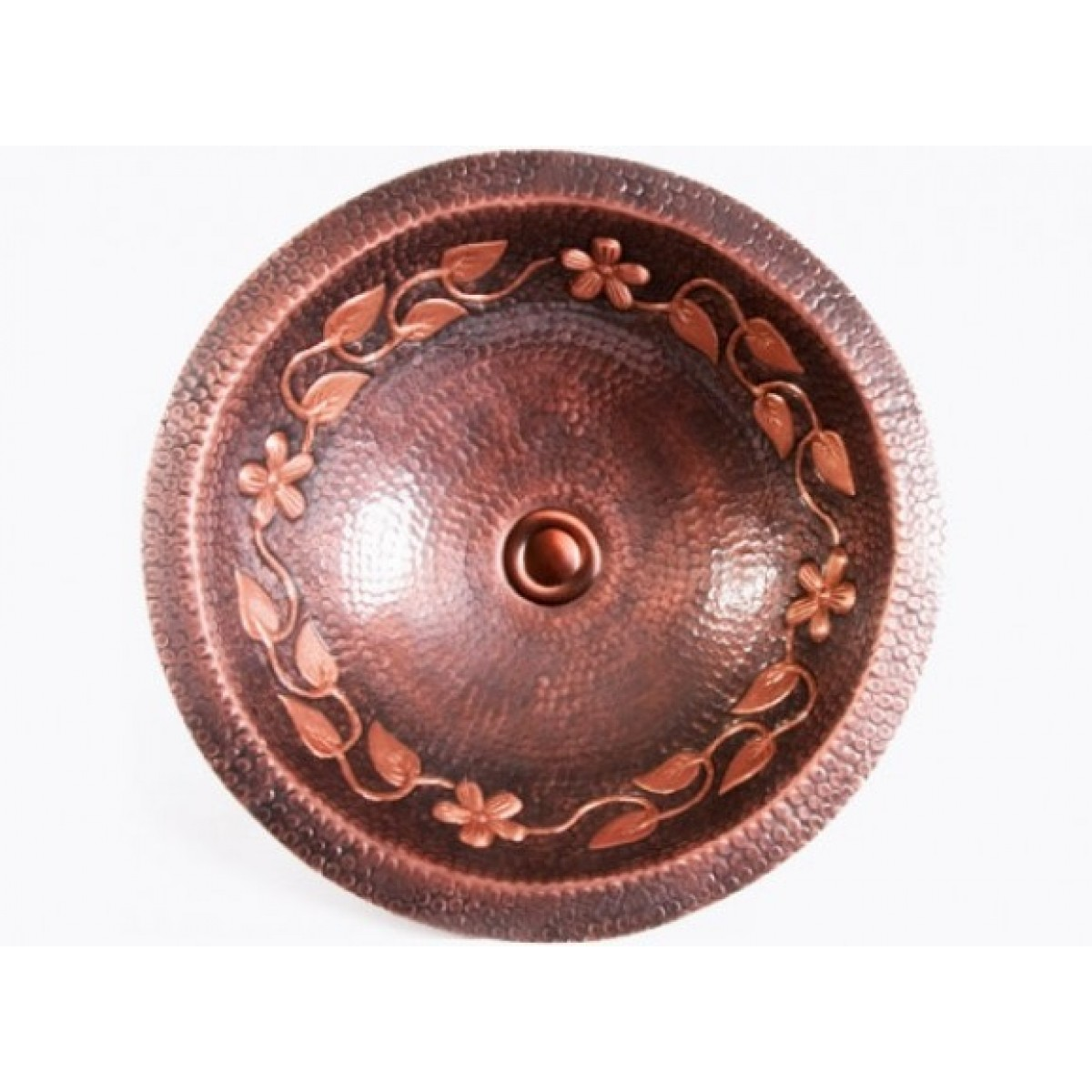 Hammered Undermount Bathroom Sink round hammered garden pattern 16 gauge copper undermount / drop in