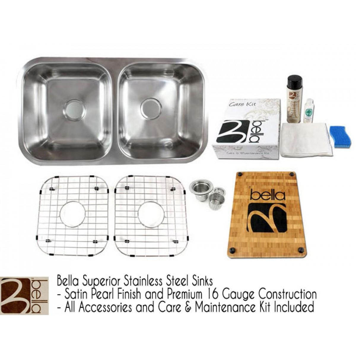 Bella 32 Inch Premium 16 Gauge Stainless Steel Undermount 50/50 Double Bowl  Kitchen Sink With FREE ACCESSORIES