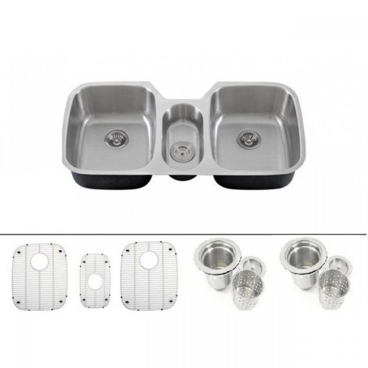 43 inch 16 gauge stainless steel undermount triple bowl kitchen sink with free accessories 43 inch 16 gauge stainless steel undermount triple bowl kitchen      rh   emoderndecor com