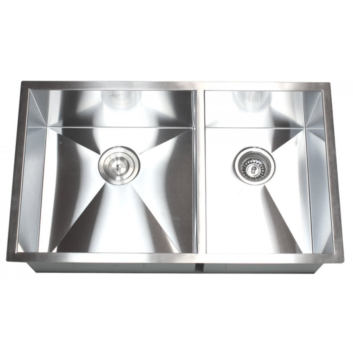32 Inch Stainless Steel Undermount 60 40 Double Bowl Kitchen Sink Zero Radius Design