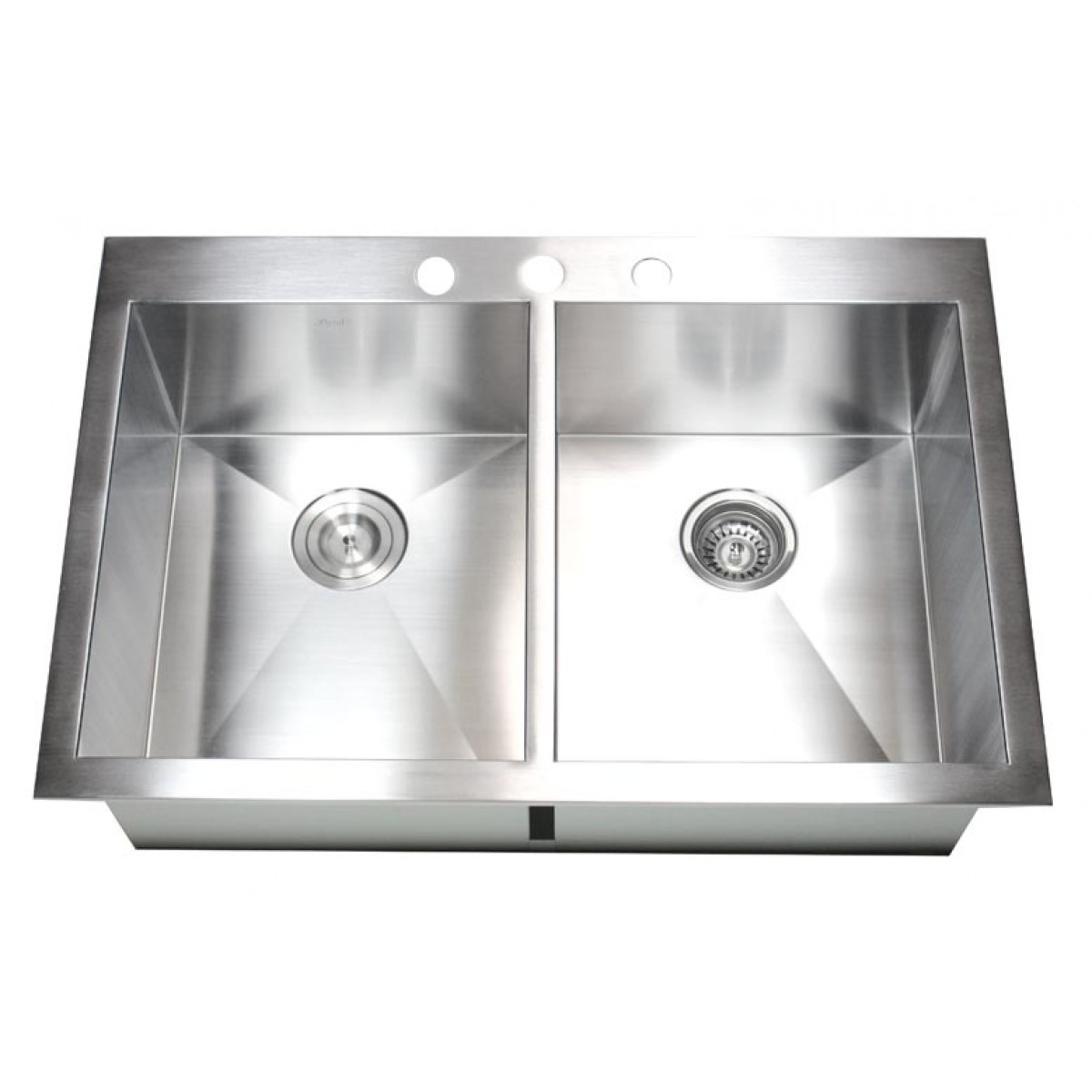 Drop In Stainless Steel Kitchen Sinks 33 inch top-mount / drop-in stainless steel double bowl kitchen sink