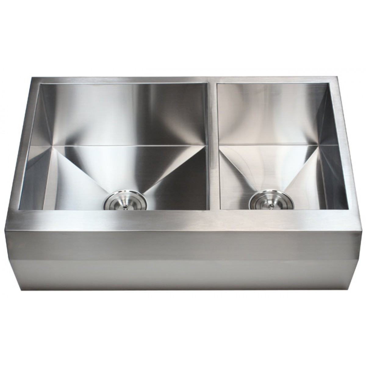 33 inch stainless steel 60 40 double bowl zero radius well Stainless steel farmhouse sink