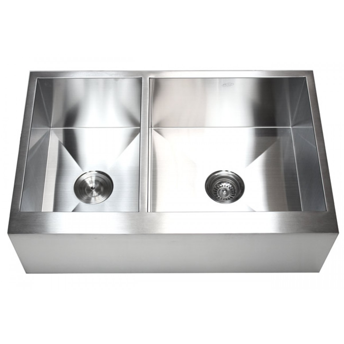 33 Inch Apron Front Sink : 33 Inch Stainless Steel 40/60 Double Bowl Flat Front Farm Apron ...