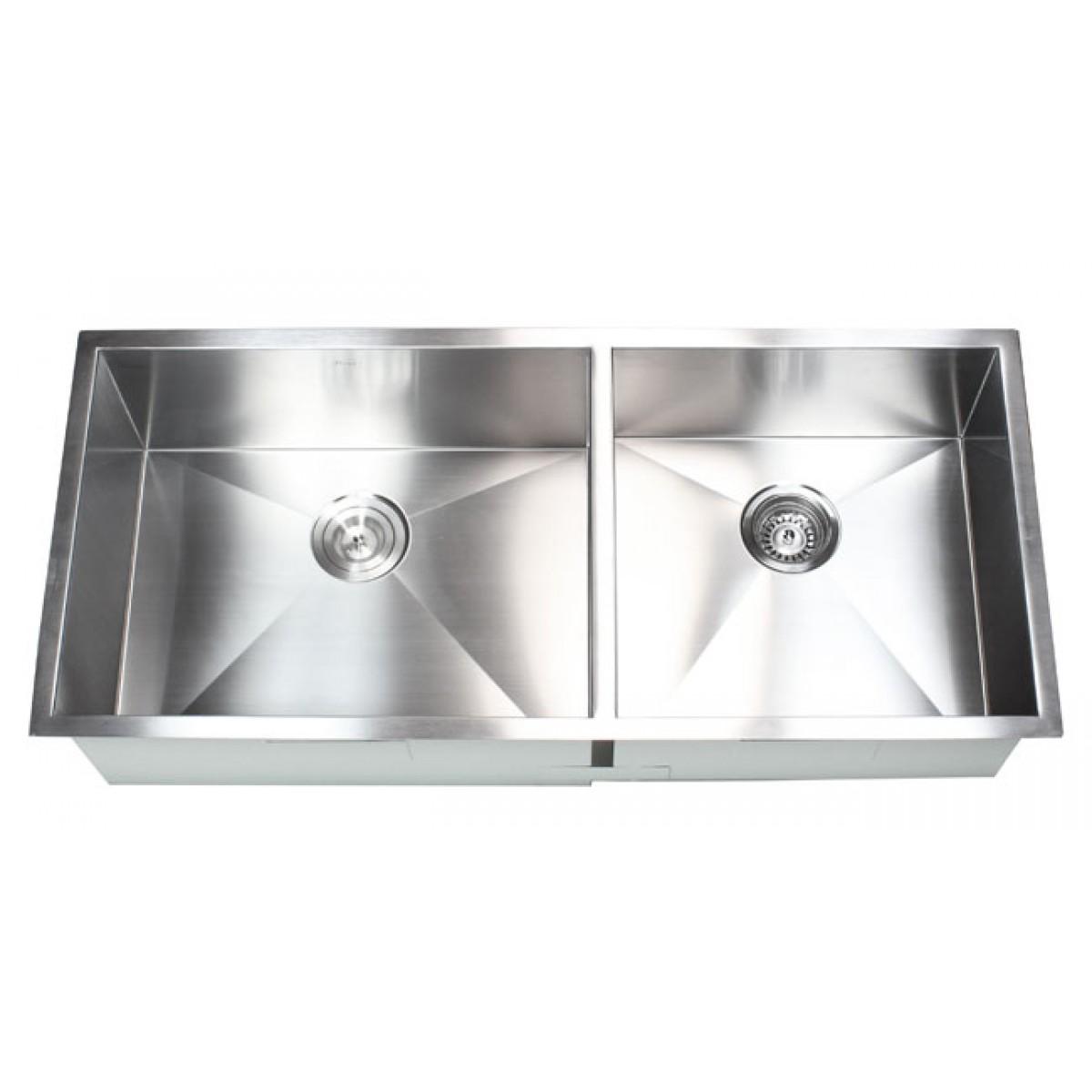 42 Inch Stainless Steel Undermount 60/40 Double Bowl Kitchen Sink Zero ...