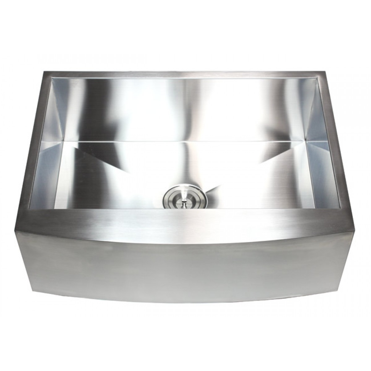 30 inch stainless steel single bowl curved front farm for Designer kitchen sinks stainless steel