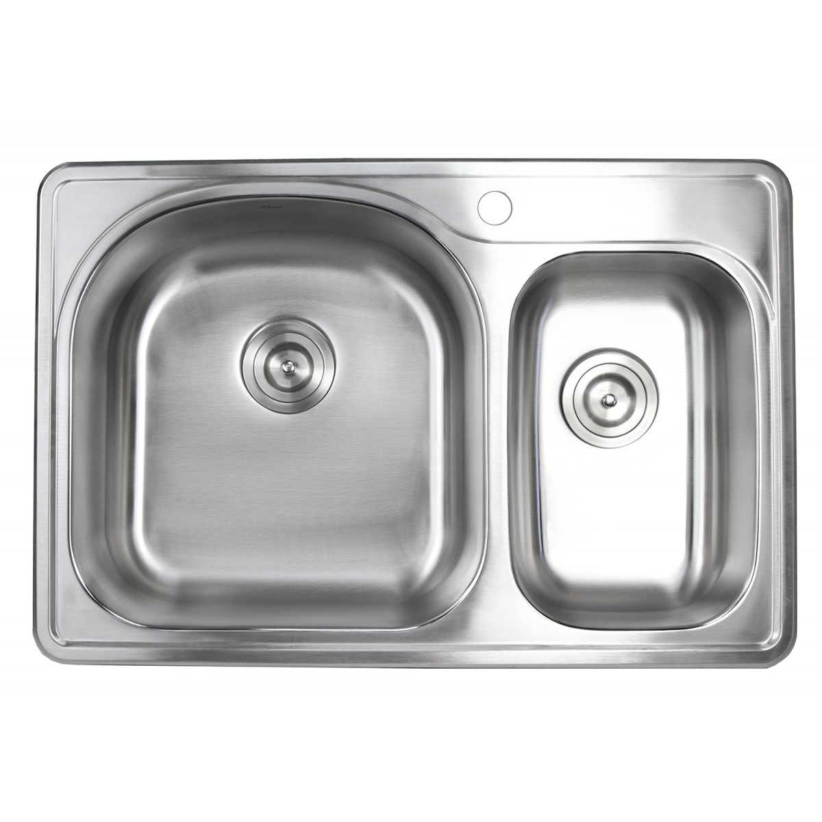 33 Inch Top Mount Drop In Stainless Steel 70 30 Double Bowl Kitchen Sink With 1 Faucet Hole