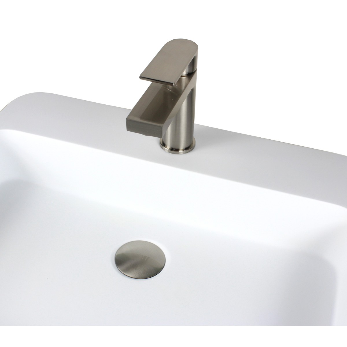 Anna Brushed Nickel Bathroom Vessel Sink Single Hole Faucet