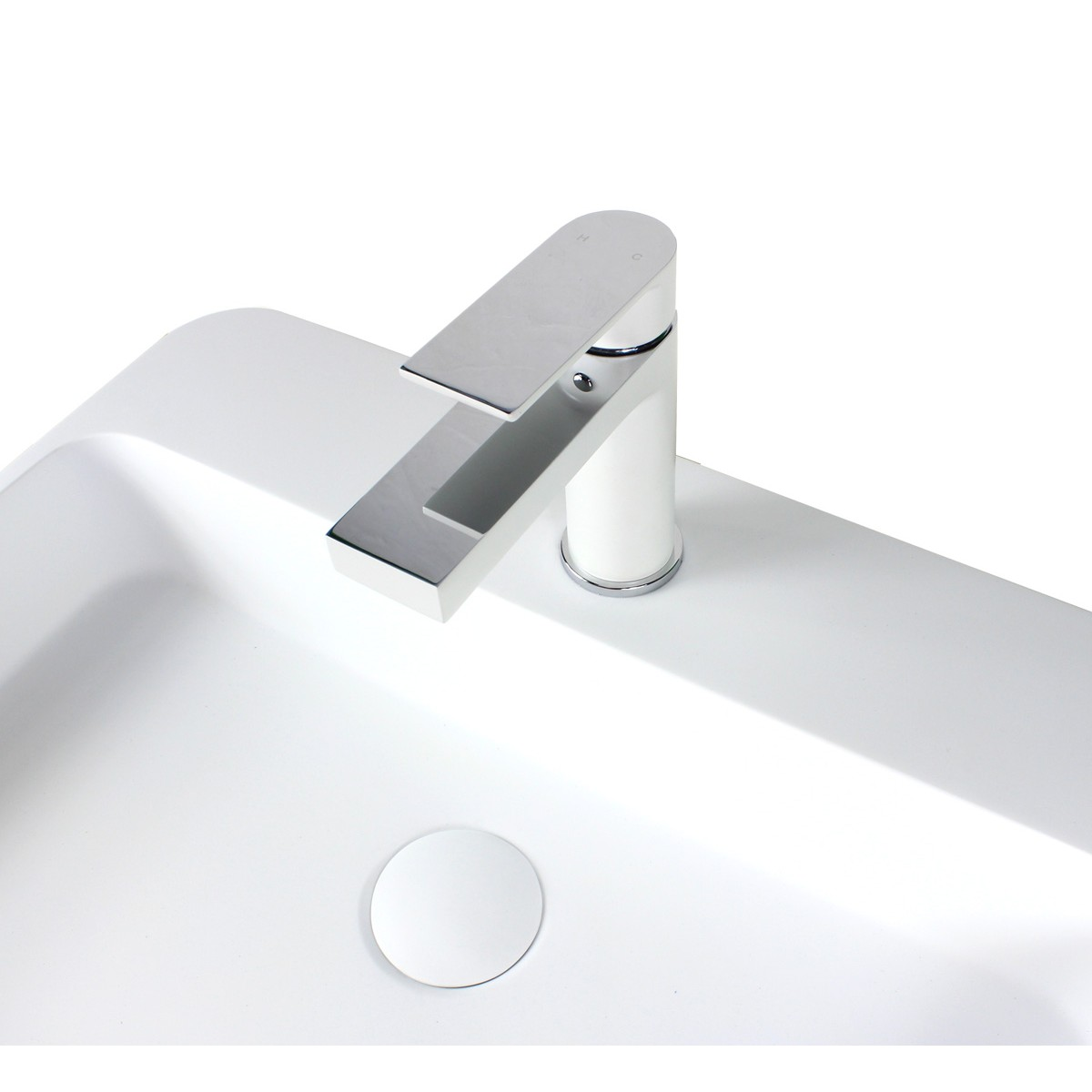 Anna matte white chrome handle bathroom vessel sink single for Single hole faucet bathroom sink