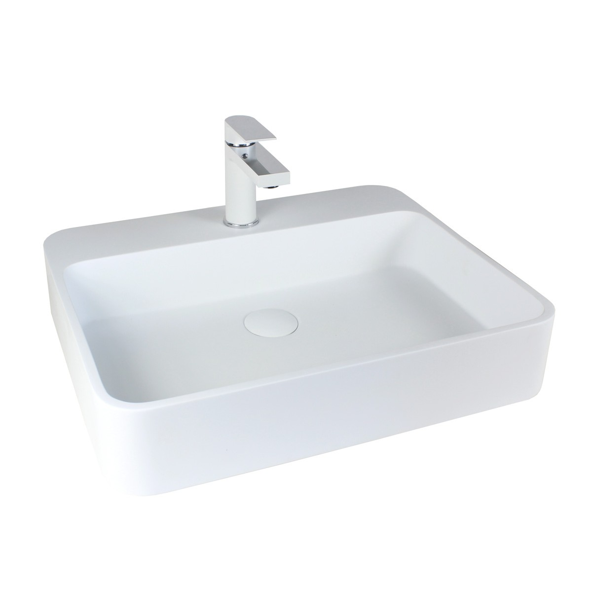 Single Hole Vessel Sink Faucet : Anna Matte White Chrome Handle Bathroom Vessel Sink Single Hole Faucet