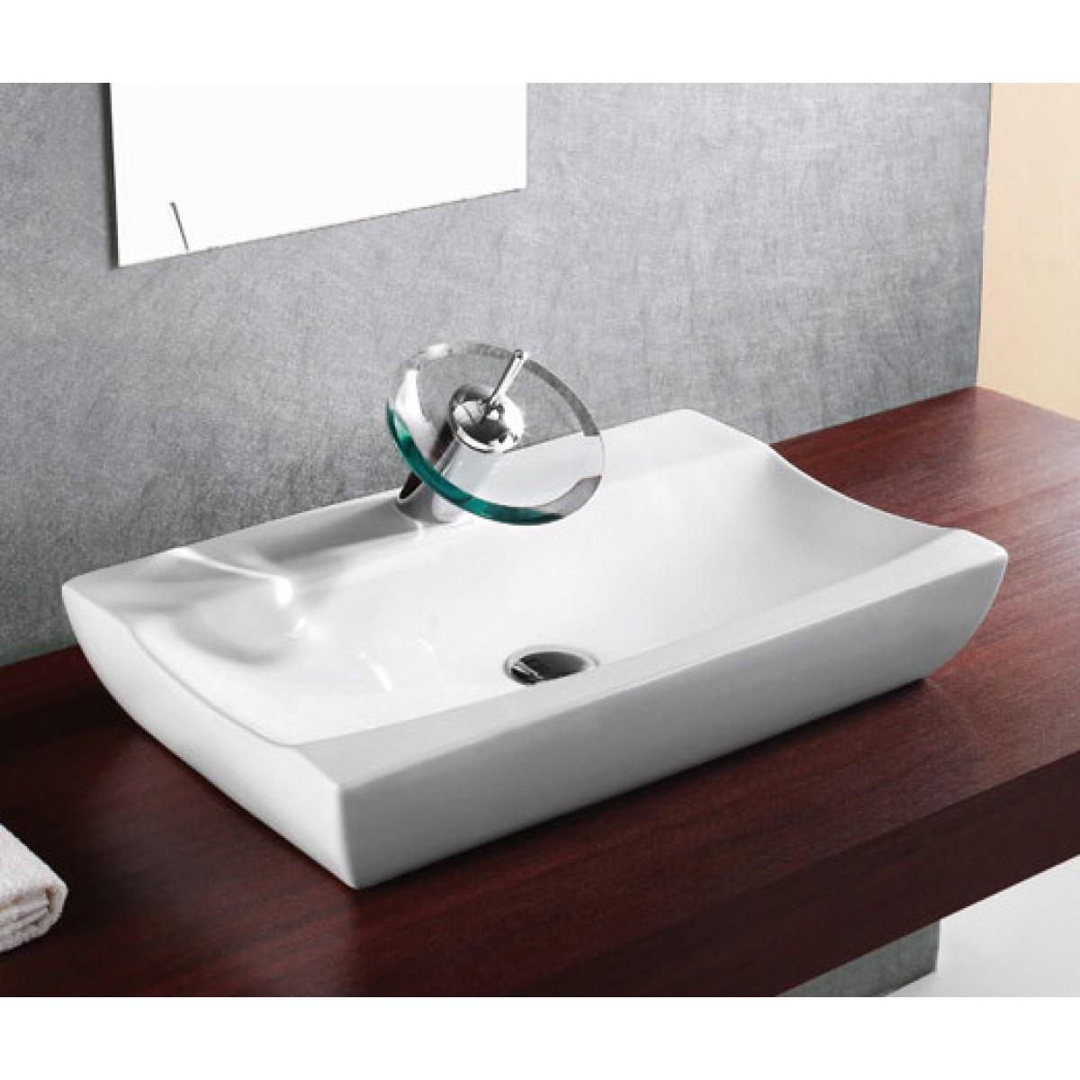Porcelain Ceramic Single Hole Countertop Bathroom Vessel Sink 25 X 15 1 2 X 5 1 2 Inch