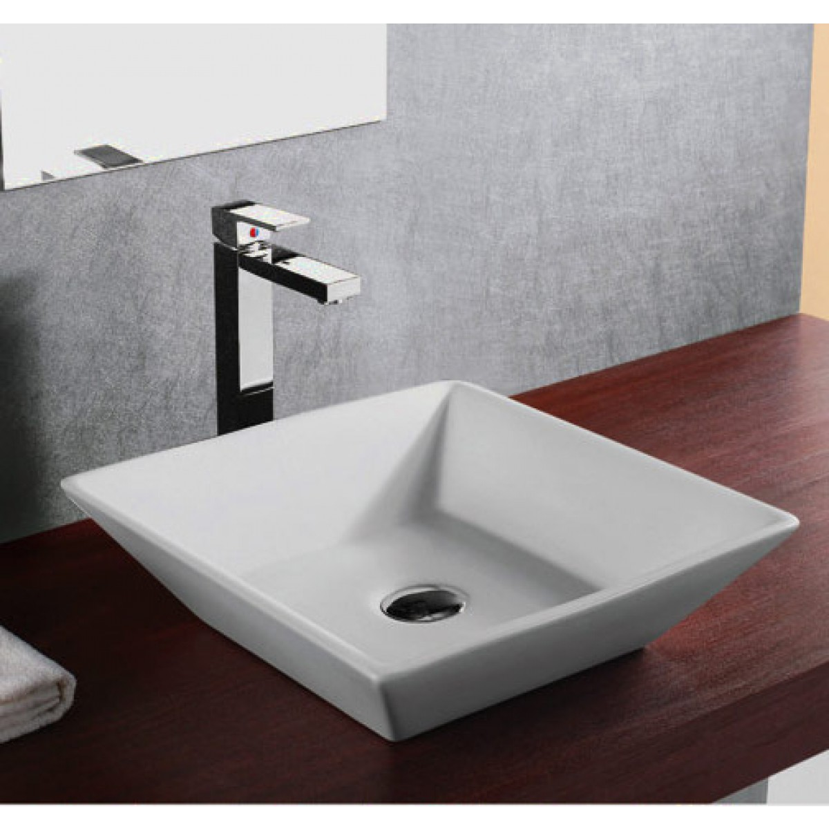 European Design Slope Wall Porcelain Ceramic Countertop Bathroom Vessel Sink    16 X 16 X 4 1/2 Inch