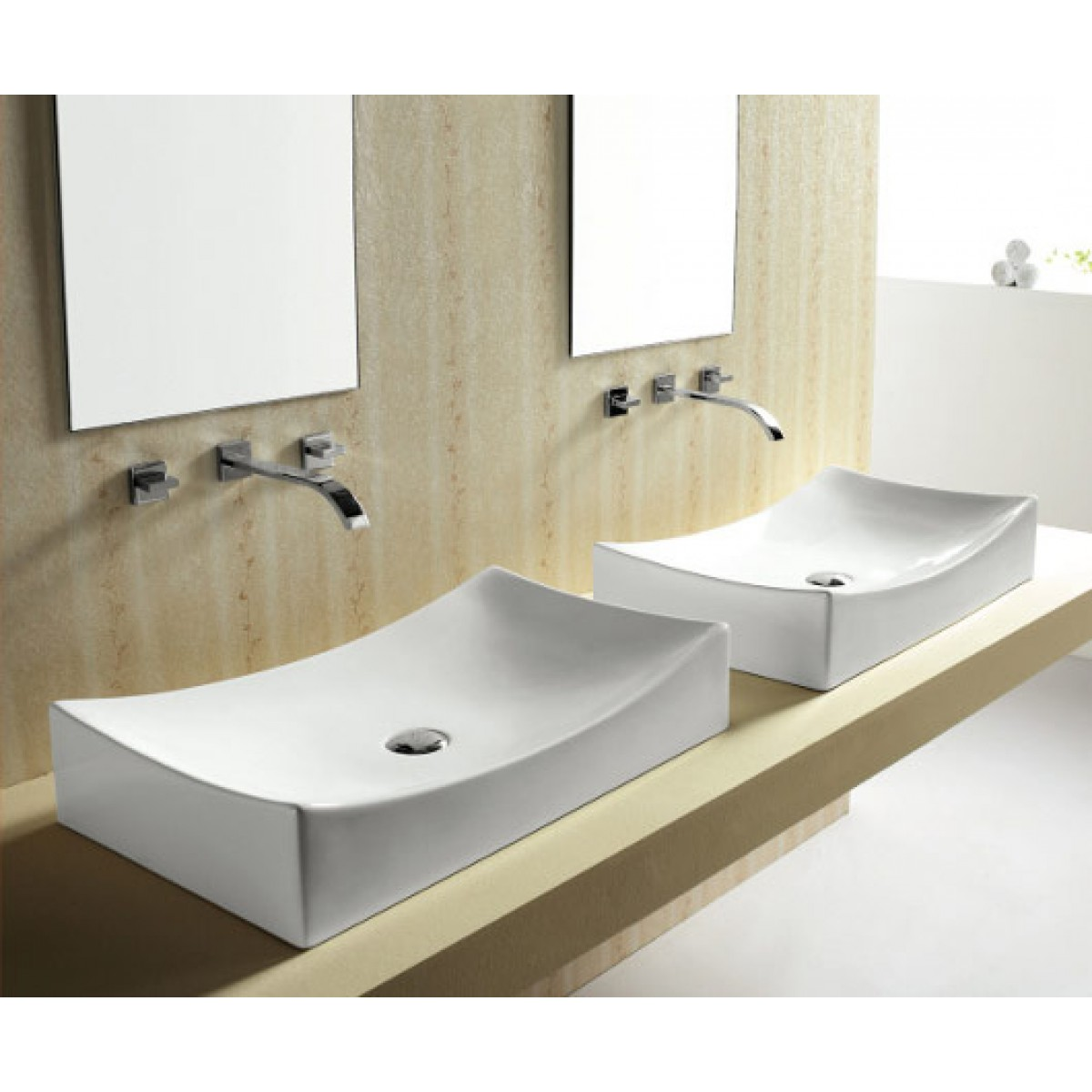 Pictures of bathrooms with vessel sinks - European Style Porcelain Ceramic Countertop Bathroom Vessel Sink 26 X 15 1 2