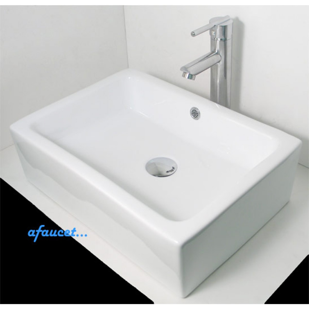 rectangular white black porcelain ceramic bathroom vessel sink 20 x 14 x 5 inch