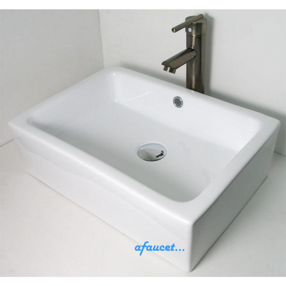 Bathroom Sinks That Sit On Top Of Counter rectangular porcelain ceramic white / black bathroom vessel sink