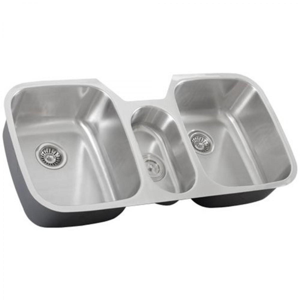 43 Inch Stainless Steel Undermount Triple Bowl Kitchen Sink 16 Gauge