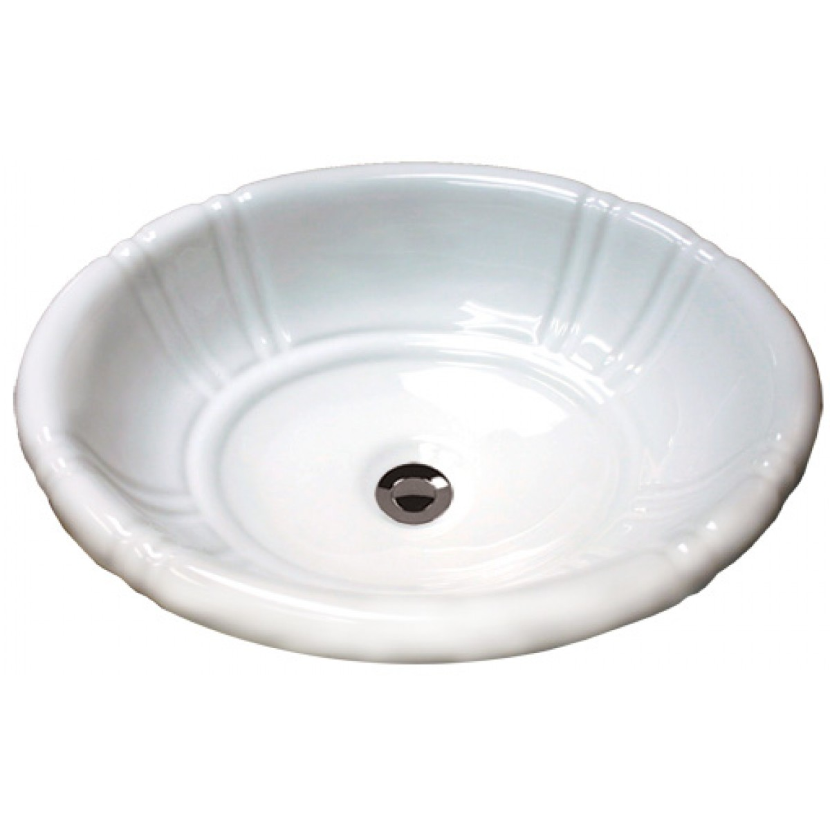 ... Ceramic Vanity Drop In Bathroom Vessel Sink - 18 x 15-1/2 x 6-1/4 Inch