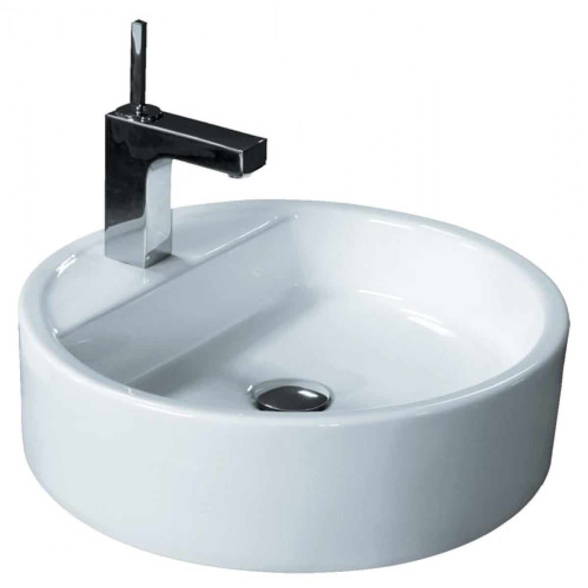 Round Porcelain Ceramic Single Hole Countertop Bathroom Vessel Sink 18 X 4 Inch