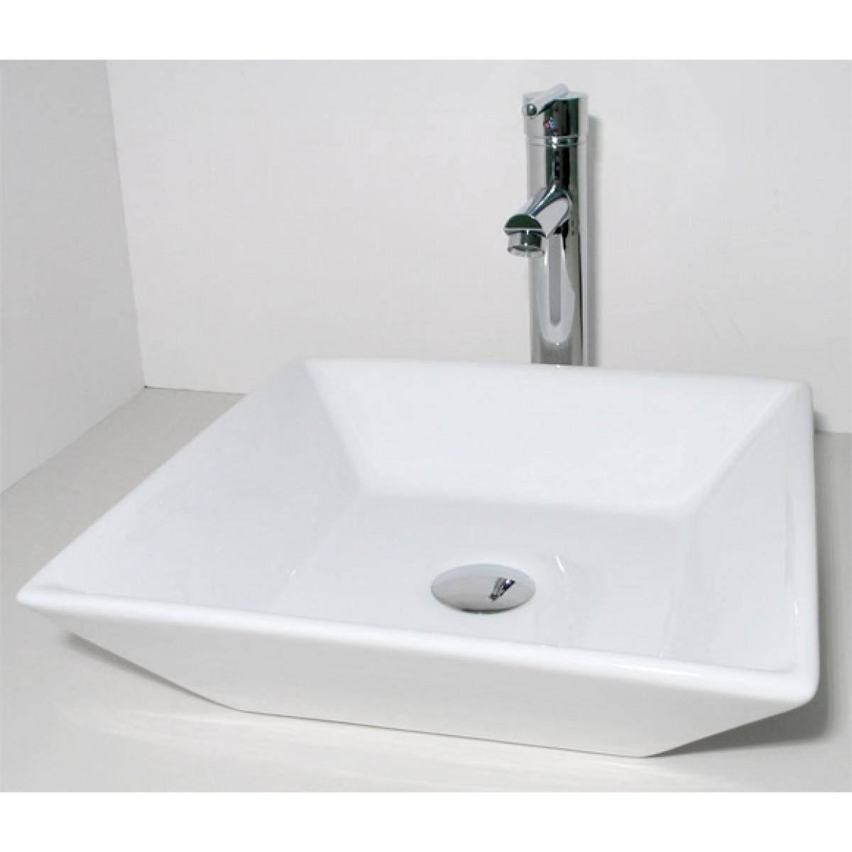 European Design Slope Wall Porcelain Ceramic Countertop Bathroom Vessel Sink 16 X 16 X 5 Inch