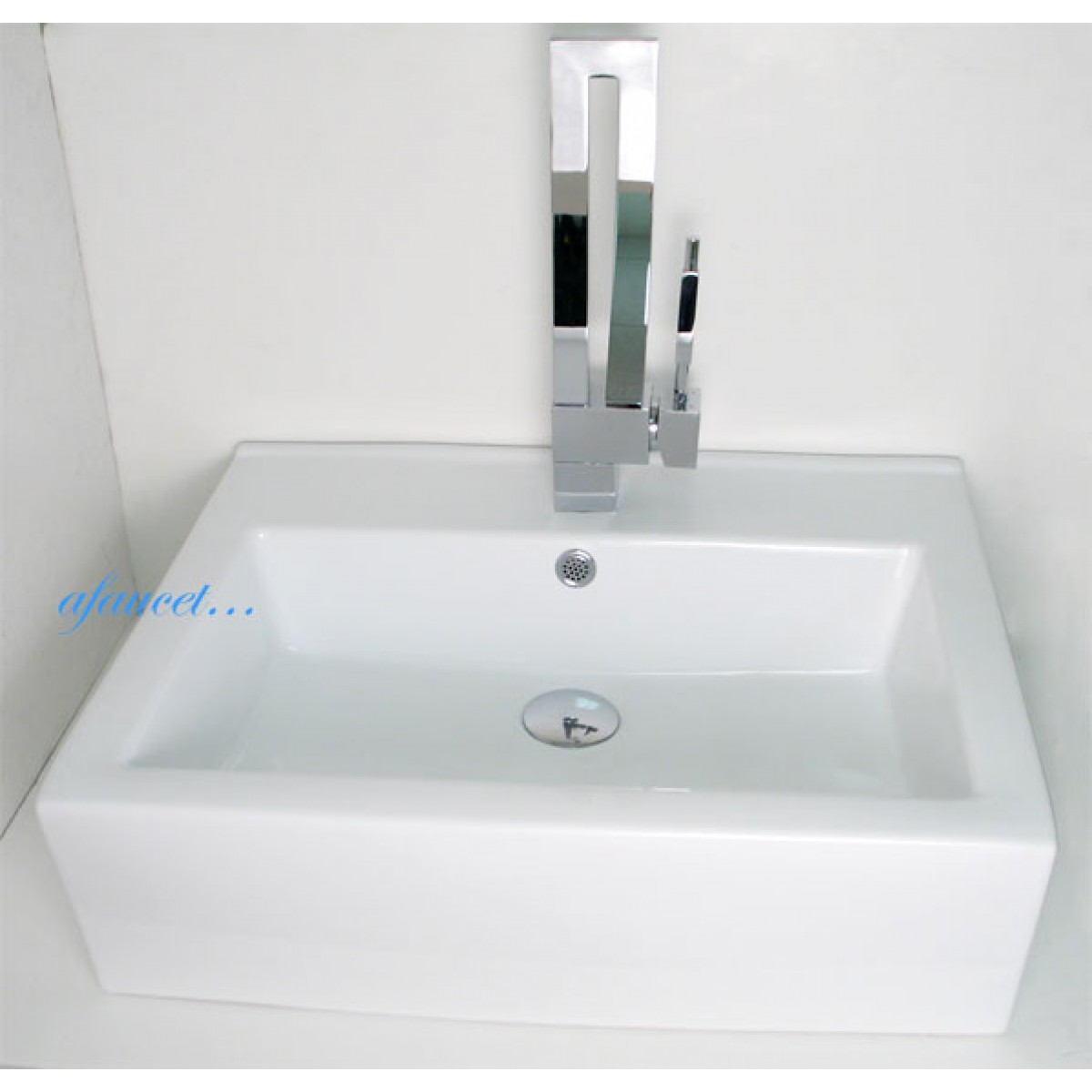 rectangular porcelain ceramic single hole countertop bathroom vessel sink x 17 x 6 inch