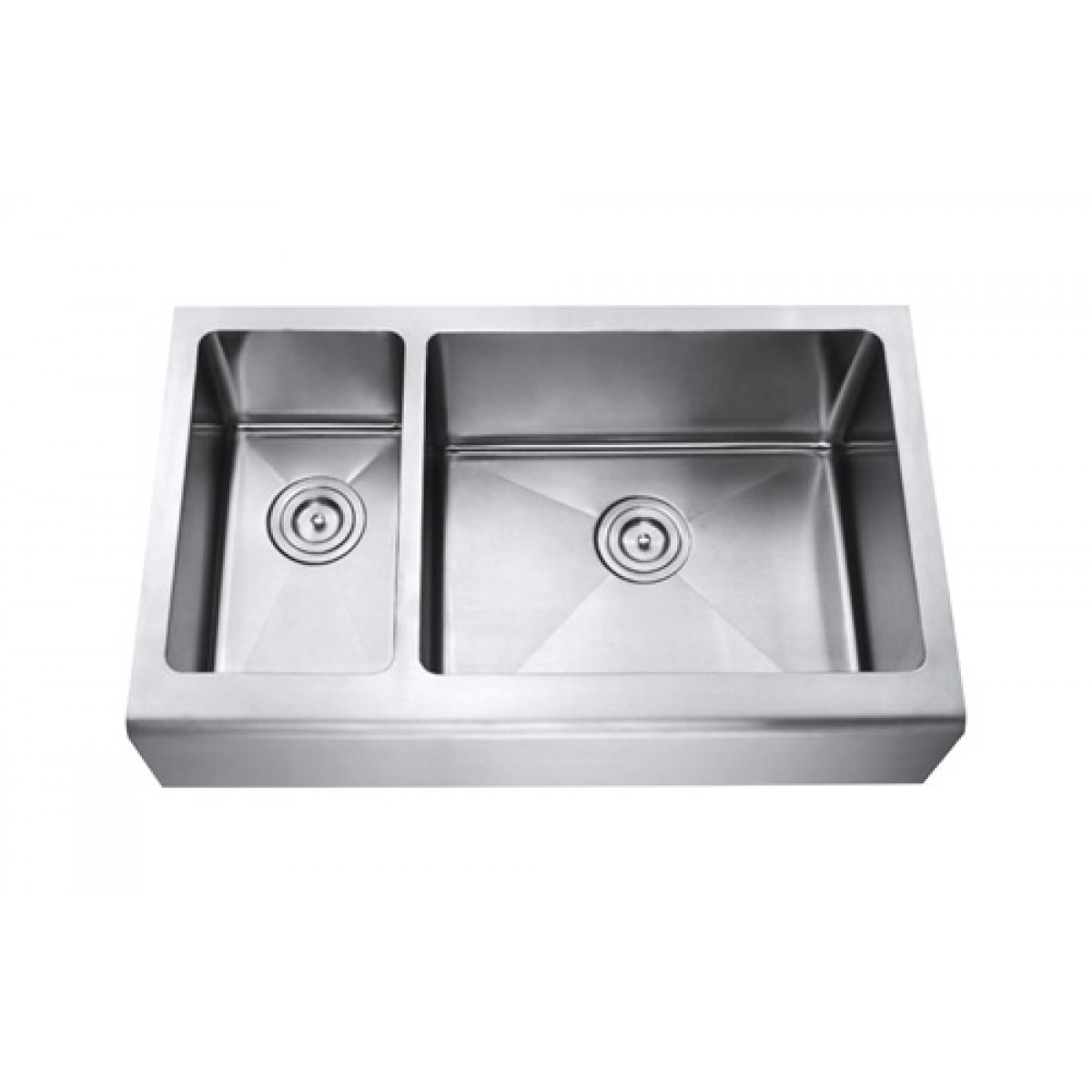 33 inch stainless steel smooth flat front farmhouse apron for Designer stainless steel sinks
