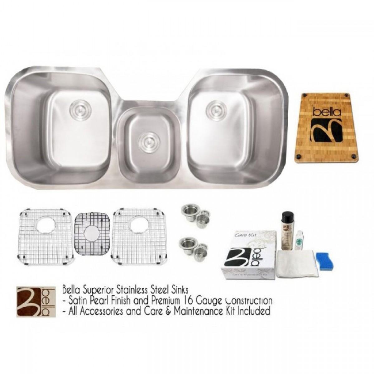 Bella 46 Inch Stainless Steel Undermount Triple Bowl Kitchen Sink ...