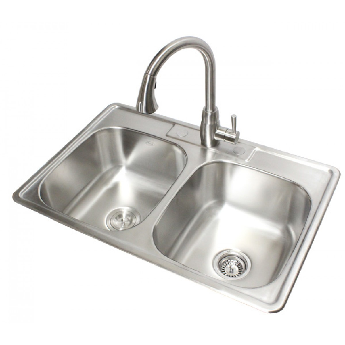 33 Inch Stainless Steel Top Mount Drop In 50 50 Double Bowl Kitchen Sink 18 Gauge