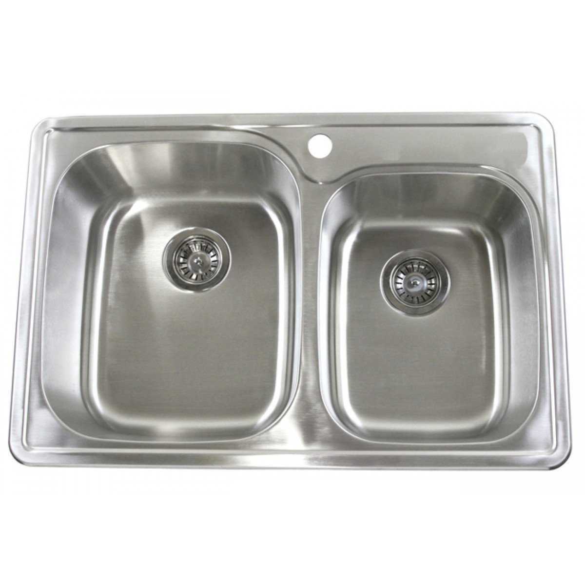 33 inch top mount drop in stainless steel double bowl - 18 inch kitchen sink ...