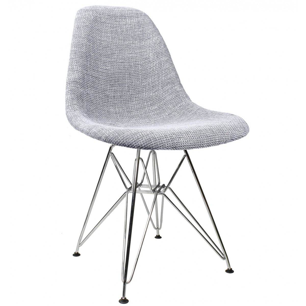 gray woven fabric upholstered mid century eames style accent side dining chair. Black Bedroom Furniture Sets. Home Design Ideas