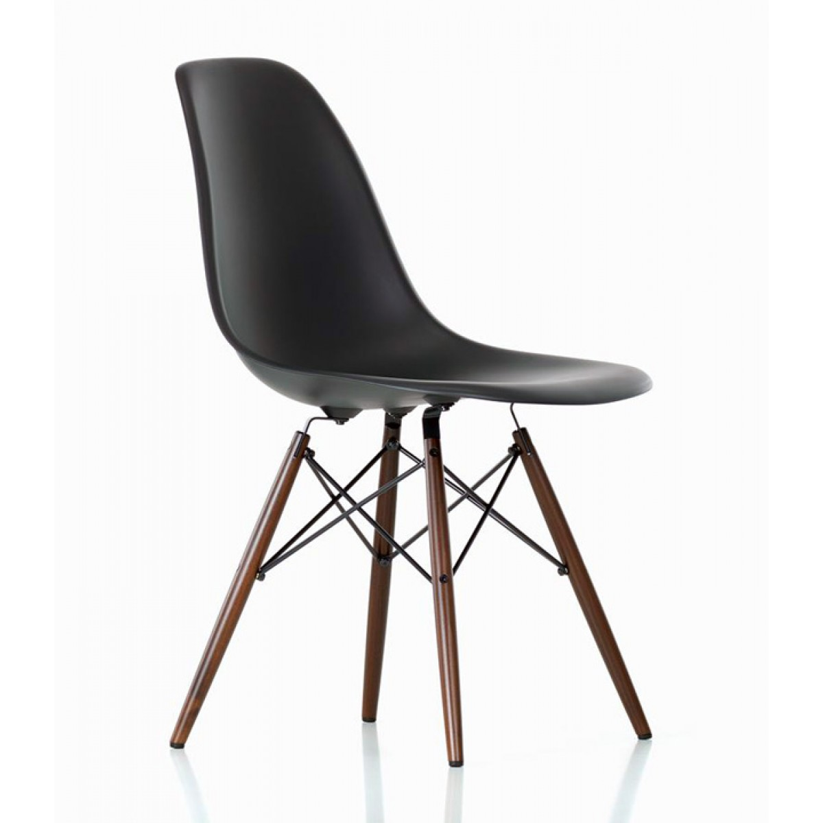 Set of 4 eames style dsw molded black plastic dining shell for Contemporary plastic dining chairs