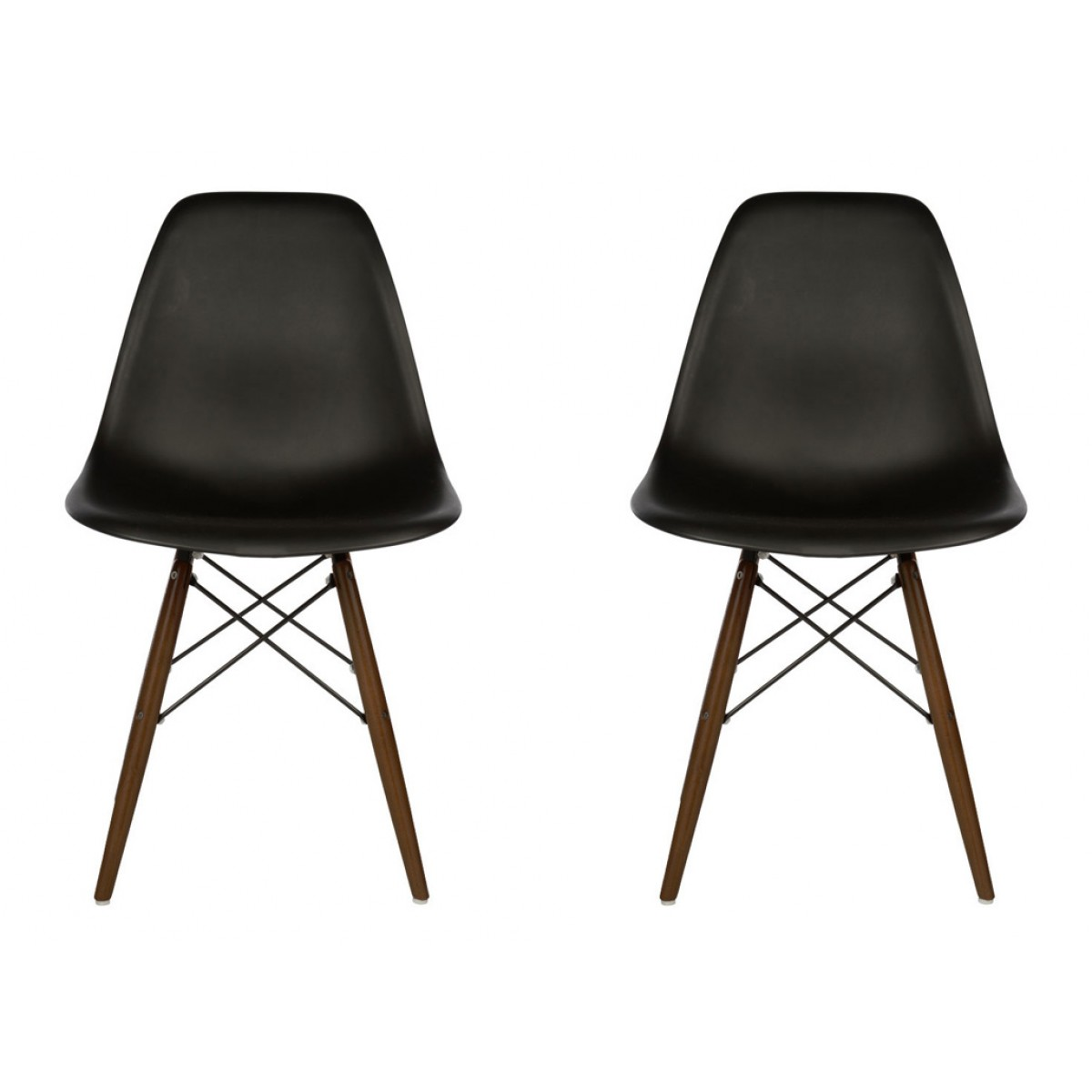 set of 2 eames style dsw molded black plastic dining shell c