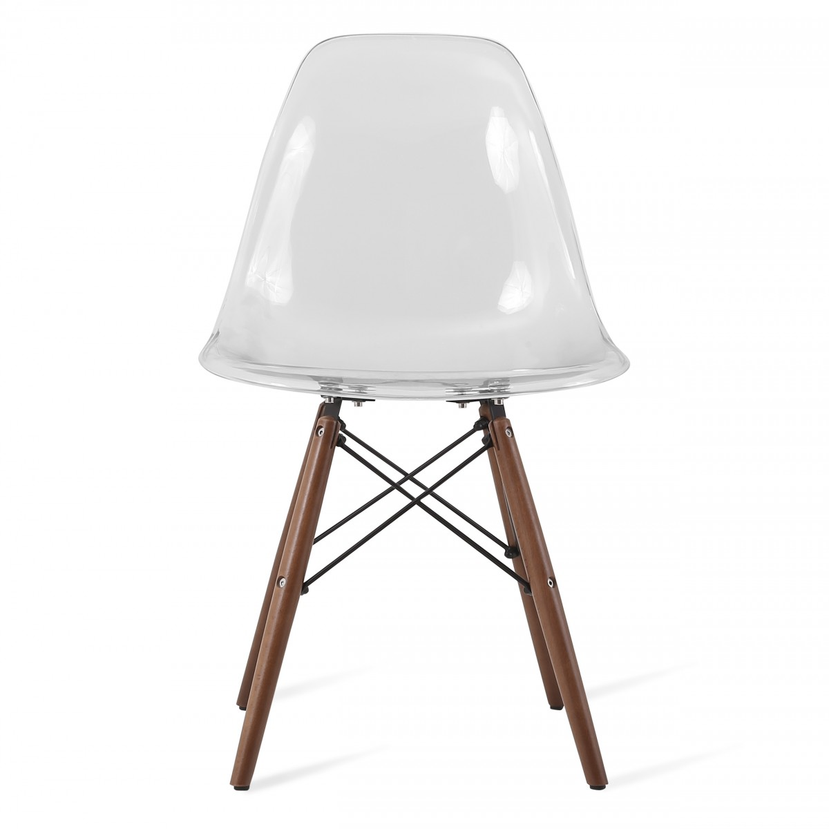 Eames Style DSW Clear Acrylic Plastic Dining Shell Chair  : dsw dining chair clear walnutp2 from www.emoderndecor.com size 1200 x 1200 jpeg 76kB