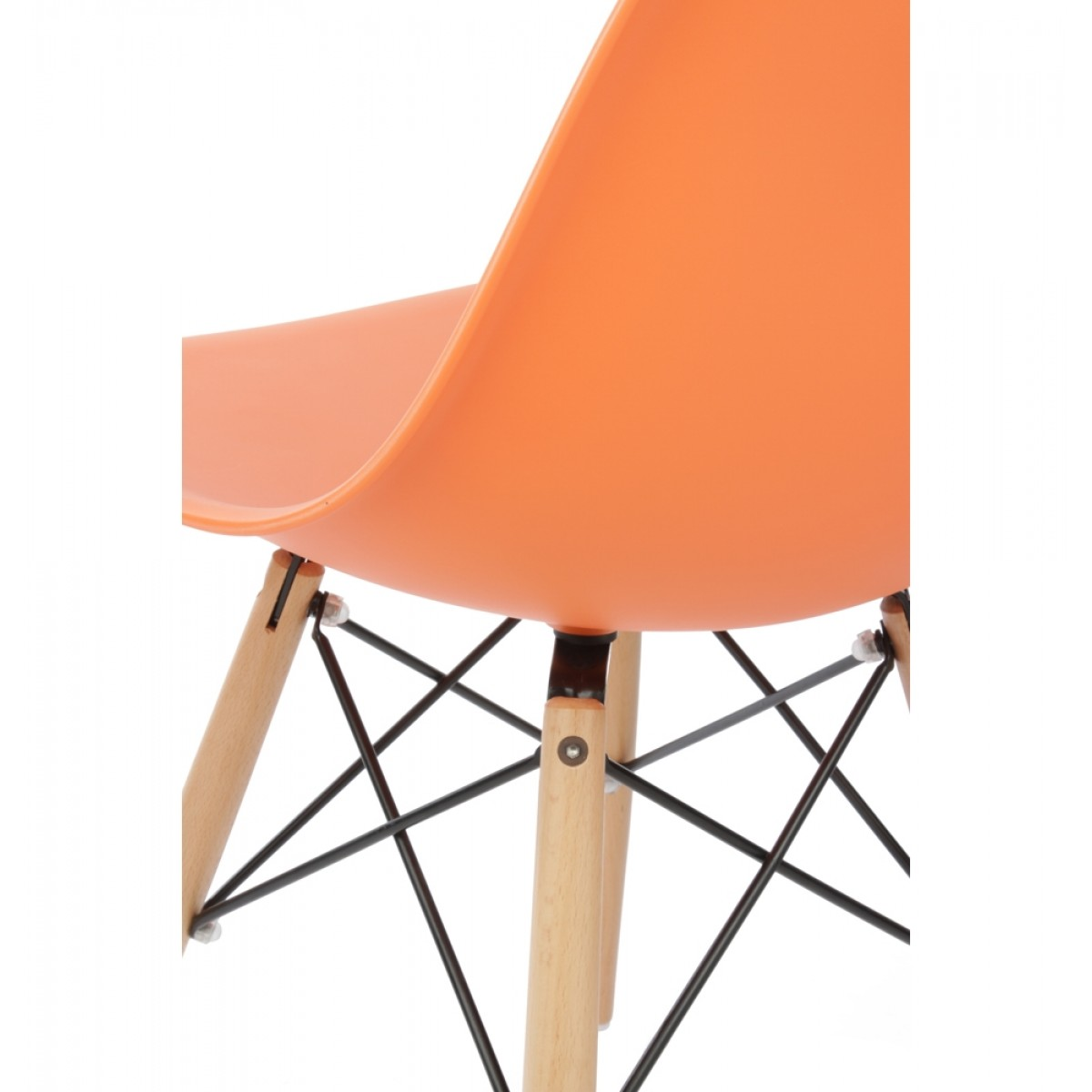 Eames style dsw molded orange plastic dining shell chair with wood eiffel legs - Discount eames chair ...