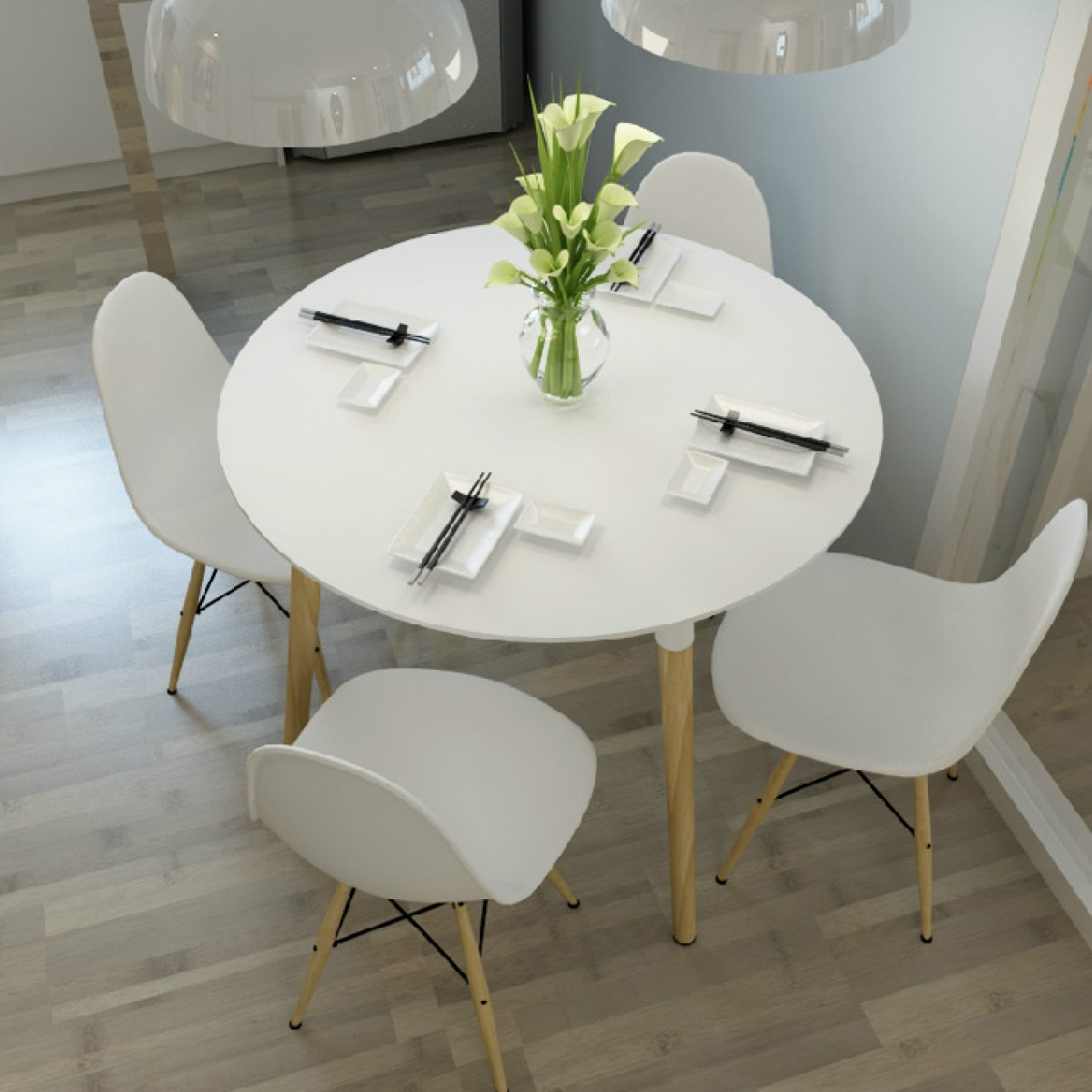 Eames style dsw white round dining table
