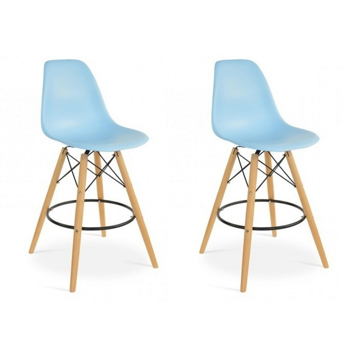 Set Of 2 Eames Style Dsw Light Blue Plastic 26 Inch