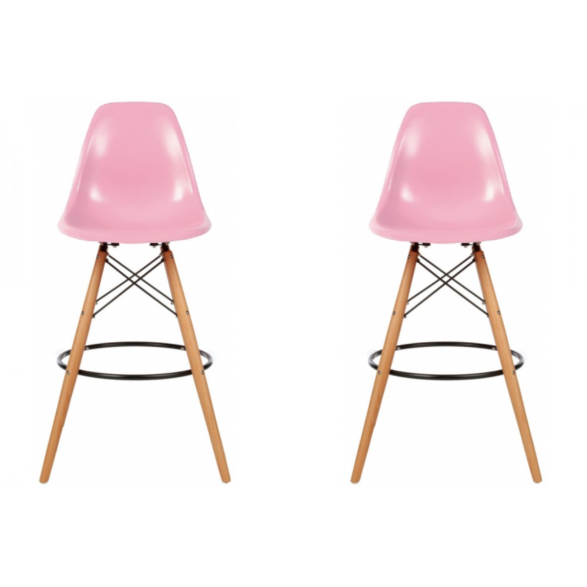 Set Of 2 Eames Style Dsw Pink Plastic 26 Inch Counter