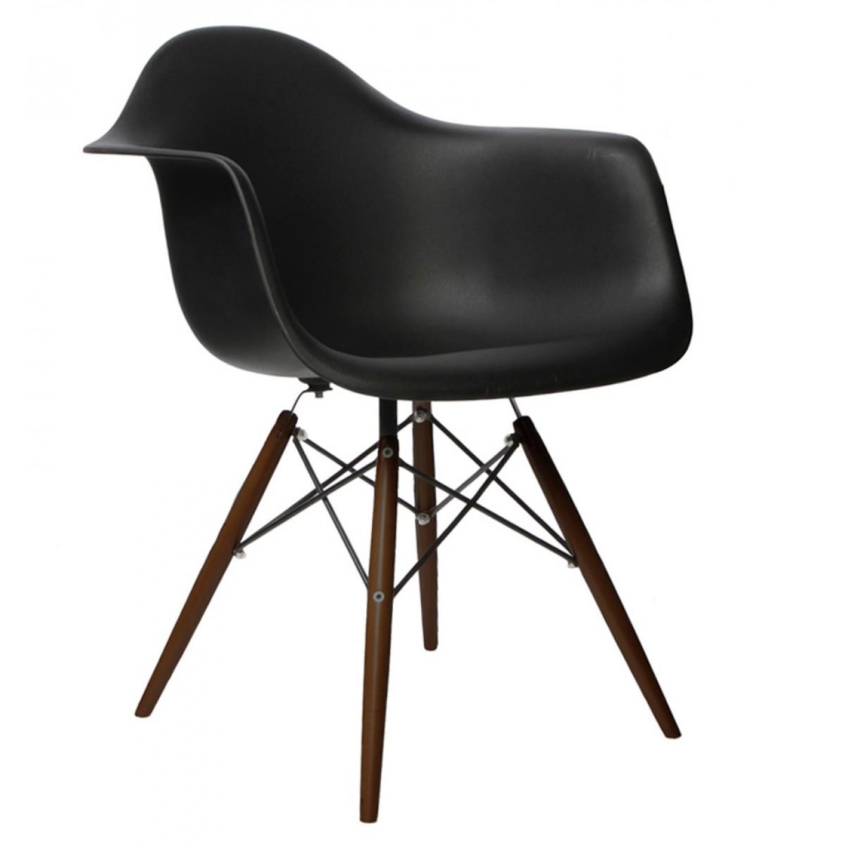 Set Of 2 DAW Molded Black Plastic Dining Armchair With Dark Walnut Wood  Eiffel Legs